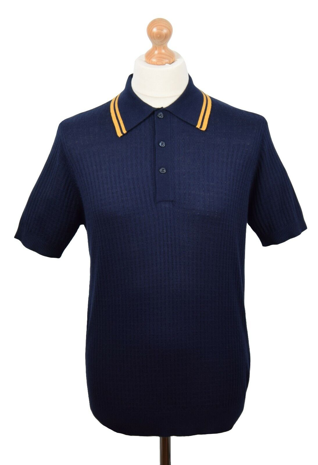 ART GALLERY CLOTHING NAVY TEXTUrot POLO MOD NORTHERN SOUL MODS