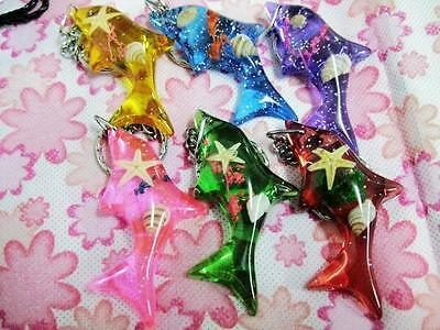 12pcs lovely shell&star lavender dolphin mix fish style lots key-chains