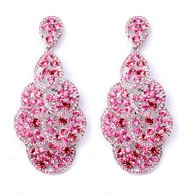 Cocktail Silver Plated Pink Crystal Earrings Long CHandelier ALL WAVY Studs