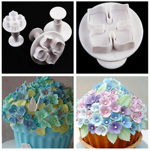 3pc Hydrangea Fondant Cake Decorating Sugar Craft Plunger Cutter
