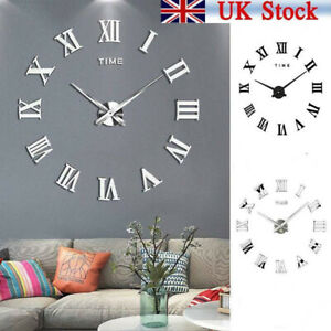 UK Luxury 3D DIY Wall Clock Home Decoration Mirror Living Room Acrylic UK Stock