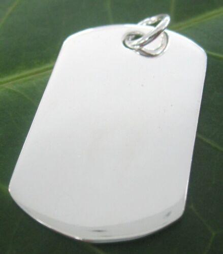100/% REAL 925 sterling silver Plain MEDIUM Dog Tag PENDANT 32mmx17 mm Men Women
