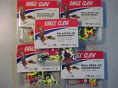 50 NEW EAGLE CLAW 1//4 OZ LEAD JIG HEADS SIZE 1 HOOK  WALLEYE JIGS WHITE  FISHING