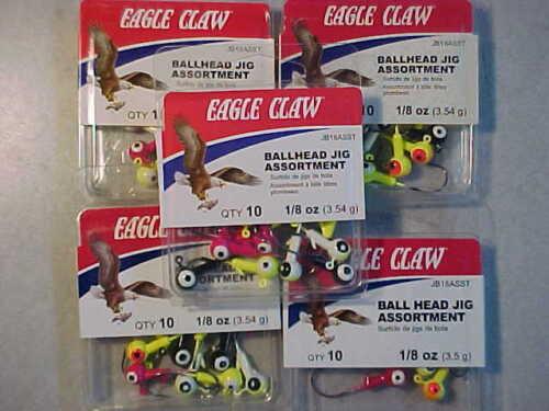 50 NEW EAGLE CLAW 1//8 OZ LEAD JIG HEADS SIZE 1 HOOKs JIGS FISHING ASSORTMENT