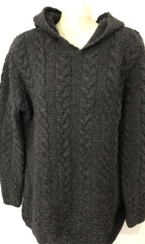 Inis Crafts Irish Sweater Womens L Merino Wool Hoo