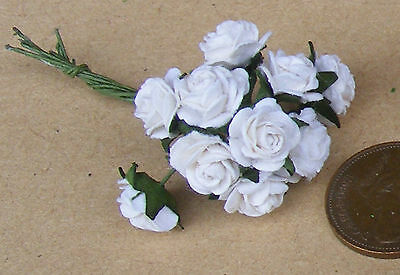 1:12 Scale Single Bunch (10 Flowers) Of  White Paper Roses Dolls House Miniature