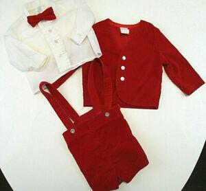 Vtg-R-GEE-ORIGINALS-Outfit-Boys-Sz-18-mos-Red-Velvet-Jacket-Shorts-Bow-Tie-Shirt