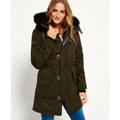 New Womens Superdry Microfibre Sd-4 Parka Coat Olive