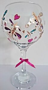 7990943ad83 Details about GIN Glass Personalised Hand Painted Dragonflies FREE Gift Box  Teacher