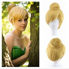Fairy Tinker Bell Princess Gold Blonde Short Synthetic Hair Cosplay Costume Wigs