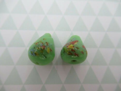 From Japan Vintage Glass Teardrop Beads Pear Beads Green Tombo Beads 12X9mm
