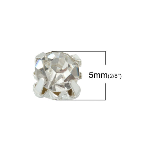 5mm Rhinestones 500 Sew On Glass with Silver Tone back Clear Diamante crystals