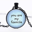you are my favorite Black Glass Cabochon Necklace chain Pendant Wholesale