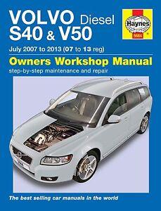 haynes owners workshop manual volvo s40 v50 diesel 07 13 service rh ebay co uk service manual volvo v40 1999 service manual volvo s40 2007