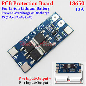 2S 8A 7.4V w// Balance 18650 Li-ion lithium battery BMS chargers protection FB