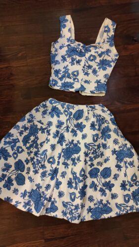 Vintage 1940s 40s cotton set dress skirt top