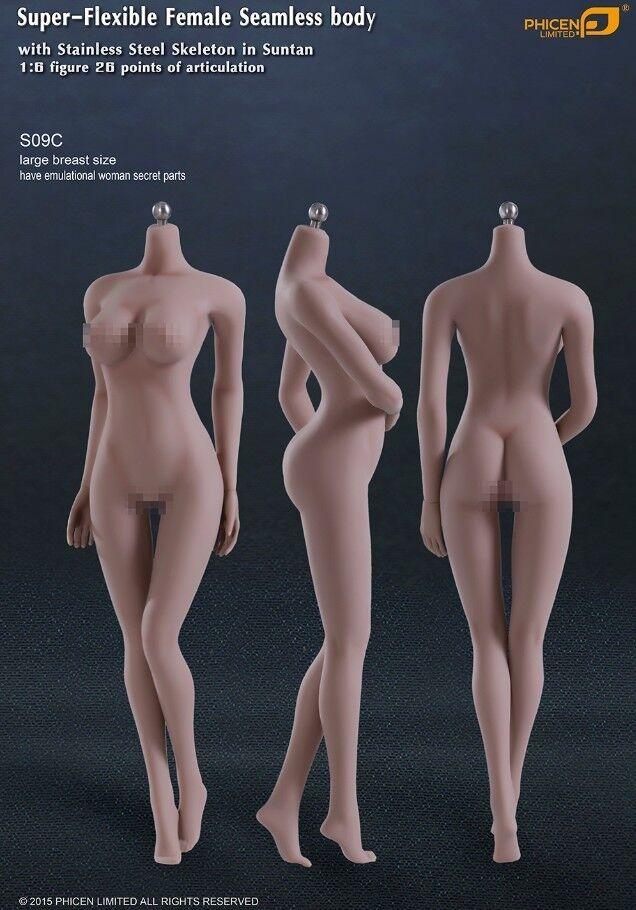 Phicen Super-Flexible Seamless BIG bust body w  Steel Skeleton Suntan 1 6 S09C