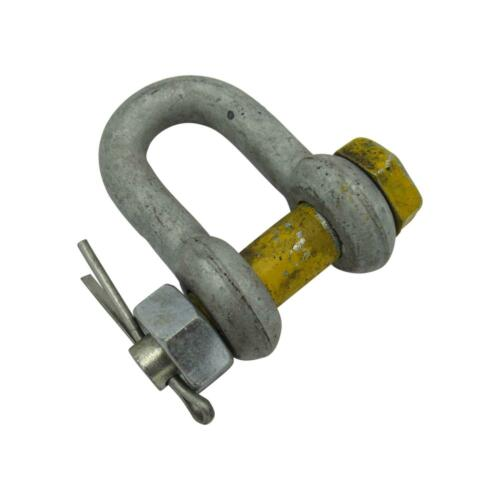 """7//8/"""" 4750KG 4.75T 4.75 Ton Galvanised Dee Shackle with 22MM Yellow Safety Pin"""