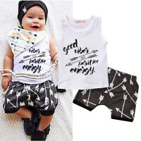 Newborn Infant Baby Boys Summer Sleeveless T-shirt+Pants Outfits Set Clothes