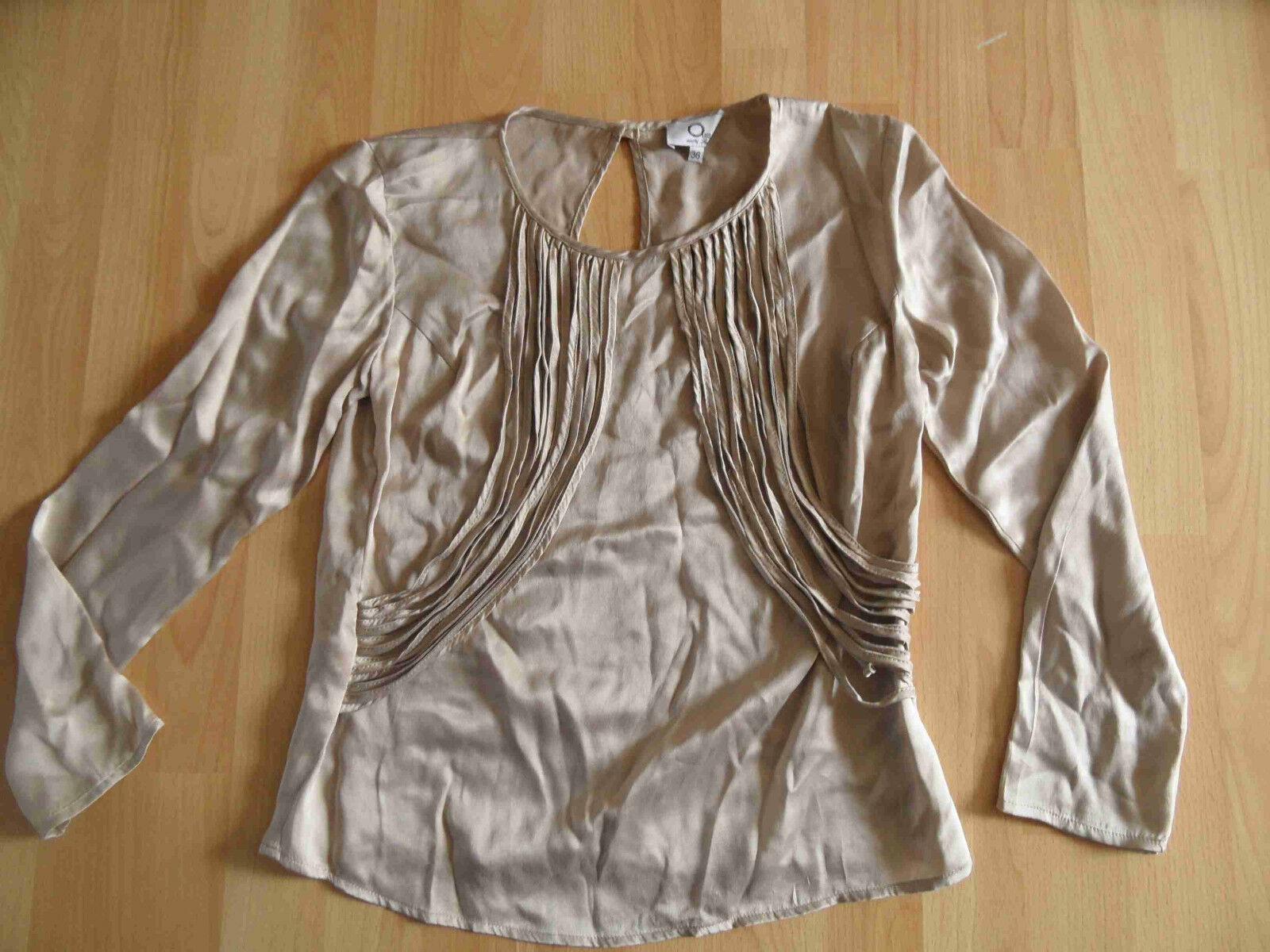 ZOE ONA Designer Blausenshirt Seide taupe Gr. 36 NEUw.  OA1