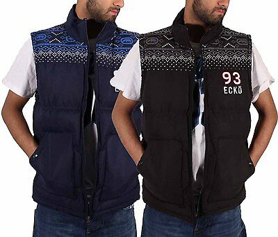 Ecko Mens Boys Gilet Full Zip Up Quilted Padded Sleeveless Body Warmer Jacket AL