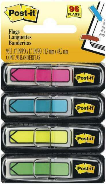 96 Post-It BRIGHT 4 COLOR ARROW FLAGS dispenser office HiLite 3M MMM