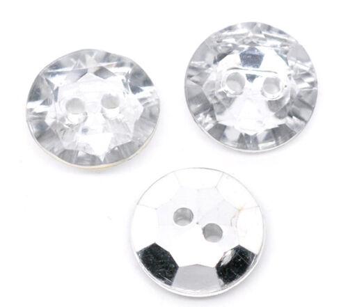 2 Agujeros de Acrílico Costura Botones Scrapbooking 18mm 25 Cristal Bling