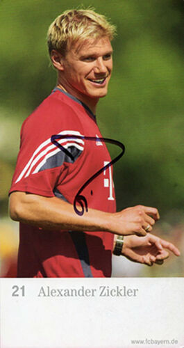 Alexander Zickler, Bayern Munich, Germany, signed 6.5x3.5 inch promo card. COA.