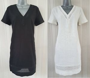Ladies-NEXT-Shift-Dress-Linen-Summer-Black-Office-Ivory-TShirt-Smock-Beach-Size