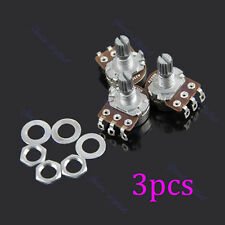 New 3 pcs A250k Guitar Potentiometer Split Shaft Pots Audio Tone Switch Control