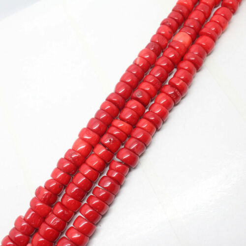 """Nouveau 5x10mm Rouge Naturel Mer Corail abacus Loose Beads 15/"""""""