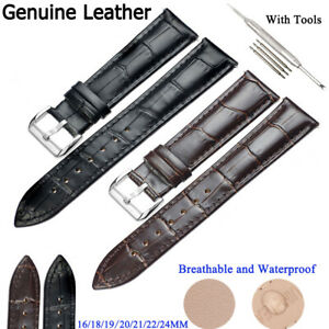 Genuine-Leather-Perforated-Watch-Strap-Band-Stainless-Steel-Pin-Clasp-16-24-MM
