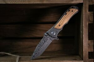 8-034-Pocket-Knife-with-Lock-system-Wood-handle-folding-damascus-etched-Blade