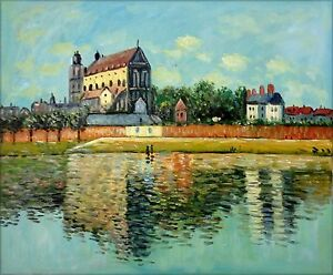 Claude-Monet-View-of-Church-at-Vernon-Repro-Hand-Painted-Oil-Painting-20x24in