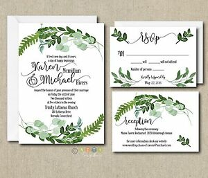 Image Is Loading 100 Personalized Botanical Watercolor Ferns Leaves Wedding  Invitation