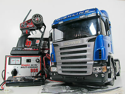 Used Tamiya RC 1/14 Scania R470 Highline Tractor Semi Truck Traxxas Futaba extra