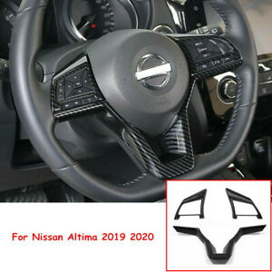 Carbon Fiber Steering Wheel Button Frame Cover Trim For Nissan Altima 2019 2020