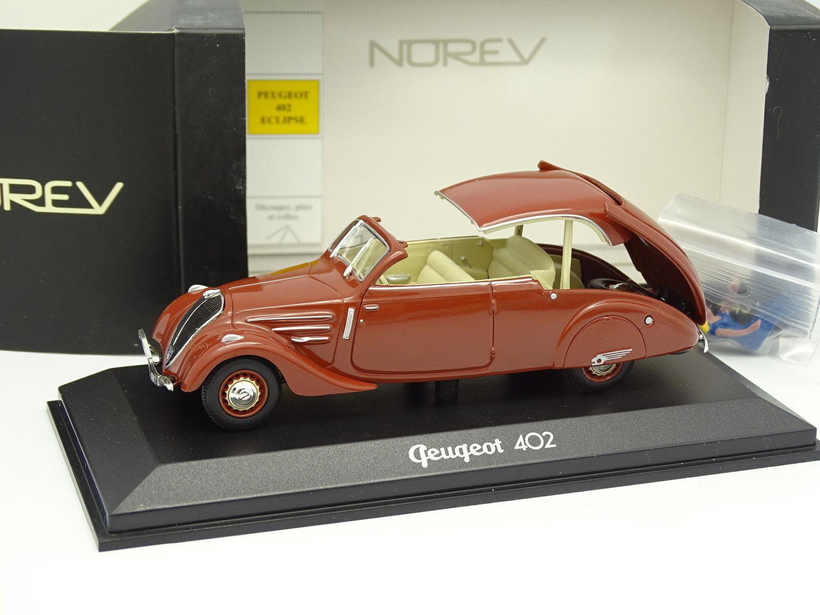 Norev CEC 1 43 - Peugeot 402 Eclipse 1936 Brown + Figurine