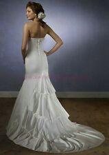 6137 WHITE MORI LEE Mermaid Bridal Gown w/train Dress Size 8 $899-ORIG PRICE****