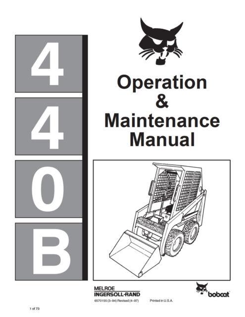 bobcat 440b skid steer loader operation maintenance manual 6570155 rh ebay com