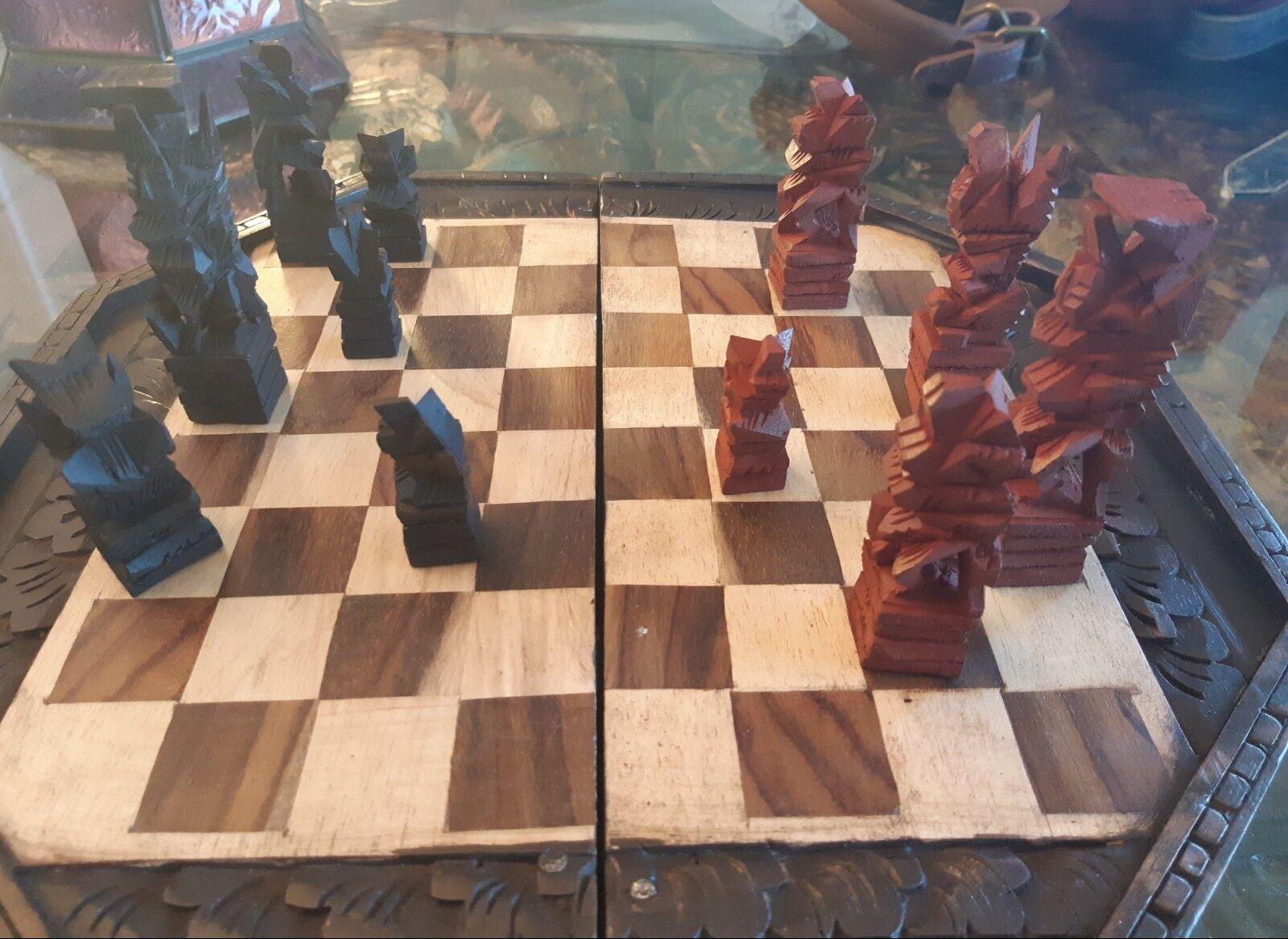 Beautiful handicraft chess game-bali-wood pieces -