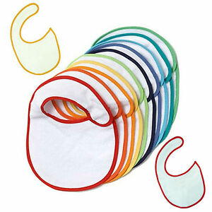 1 3 5 10 White Colour Rim Plain Baby Bibs Job Lot Bulk Wholesale ... 734038000