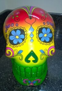 Large-Red-Yellow-Green-Candy-Skull-Day-of-the-Dead-Mexican-20cm-Solid-Ornament