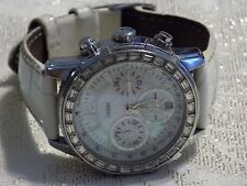 Ladies Beautiful GUESS Chrono Crystal MOP WATERPRO Leather Band Quartz Watch