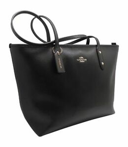 24cfb0bbe8 Image is loading Coach-Black-City-Zip-Tote-Crossgrain-Leather-Handbag-