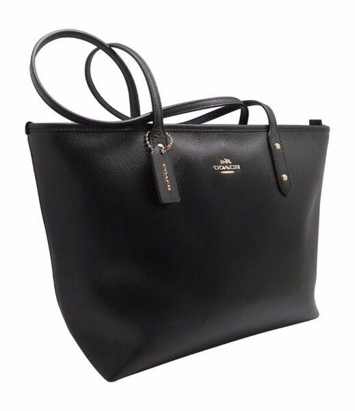 Coach Black City Zip Tote Crossgrain Leather Handbag - F36875 for ... ab197ab9c5308