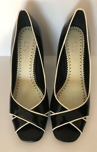 Franco-Sarto-Womens-Size-8M-Black-Patent-Leather-Peep-Toe-Heels-Pumps-Shoes