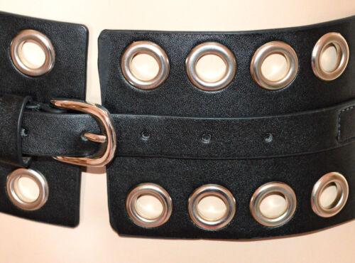 CINTURA NERA donna cinturone borchie argento bustino stringivita dark belt G14