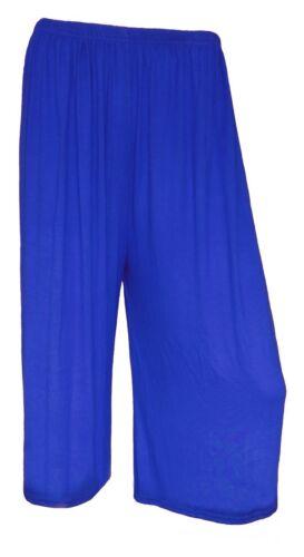 Ladies Women/'s Elasticated Stretch Wide Leg Culottes 3//4th Length Plus Size 8-26