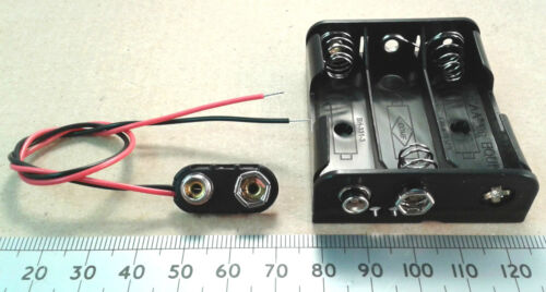AA//UM-3 Batteria Casella nel 2 3 o 4 Cellulare Supporto Con Clip Connettore Snap PP3